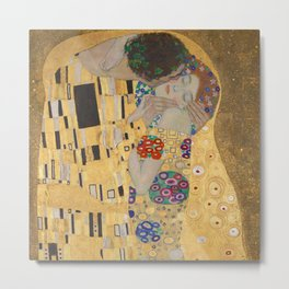 Gustav Klimt, The Kiss (Lovers), Detail Embrace, 1908 - Reproduction under Belvedere, Vienna, Creative Commons License CC BY-SA 4.0 Metal Print