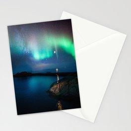 Aurora Borealis Over Coastal Waters Stationery Cards