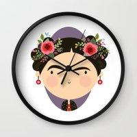 frida Wall Clocks featuring Frida by Maria Jose Da Luz