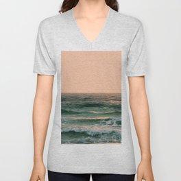Pink Skies Ocean Vibes Unisex V-Neck