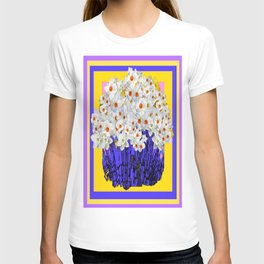 Mixed White Daffodil's Purple-Pink Art Design T-shirt