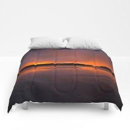 Sunset With Orange Sky Reflections On The Icy Lake #decor #society6 #homedecor #buyart Comforters