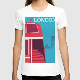 Love London vintage bus travel poster T-shirt