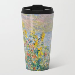 1881-Claude Monet-Flower Beds at Vétheuil-73 x 92 Travel Mug