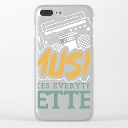 Music Makes Everything Better graphic, Boom Box design Clear iPhone Case