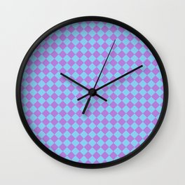 Lavender Violet and Baby Blue Diamonds Wall Clock