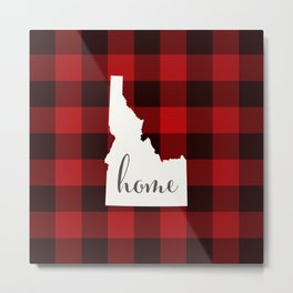 Idaho is Home - Buffalo Check Plaid Metal Print