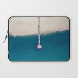 Minimalist Blue Turquoise Waters Meet White Sandy Beach Laptop Sleeve