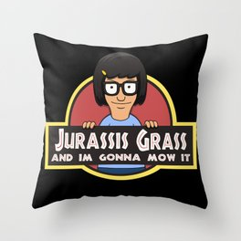 Jurassis Grass (Your ass is grass) Throw Pillow