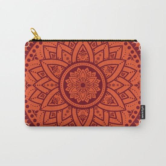 Cinnamon Spice Circle Flower Mandala Carry-All Pouch