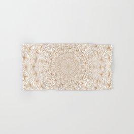 Brown Tan Intricate Detailed Hand Drawn Mandala Ethnic Pattern Design Hand & Bath Towel