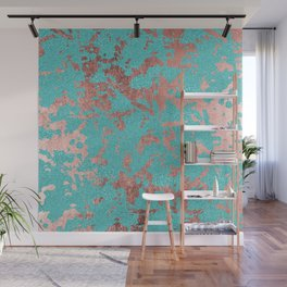 Modern turquoise glitter faux rose gold marble Wall Mural
