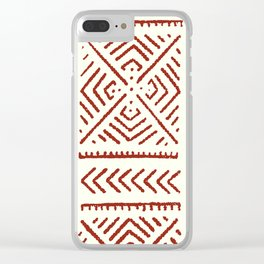 Line Mud Cloth // Ivory & Burgundy Clear iPhone Case