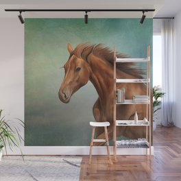 Drawing portrait horse Wall Mural