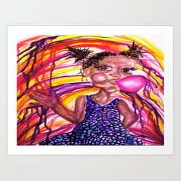 Bubble Trouble Girl Watercolor Painting Art Print