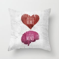 OPEN HEART, OPEN MIND Throw Pillow