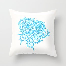 46. Thorns, Thistles, Nettles in Blue with Henna Rosa Throw Pillow