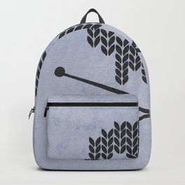 Knitted Skull (Black on Faded Periwinkle) Backpack