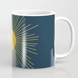 Mid-Century Modern Sunburst II in Light Mustard and Navy Blue Coffee Mug