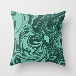 Forest green and Spearmint Marble pattern Throw Pillow