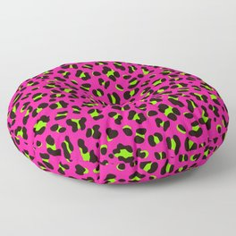 80s Neon Pink and Lime Green Leopard Floor Pillow