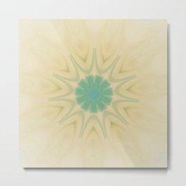 Yellow Teal Sun Mandala Design Metal Print