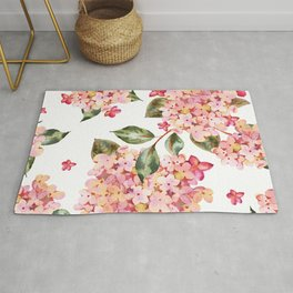 Watercolor Pink Hydrangea Pattern on White Rug