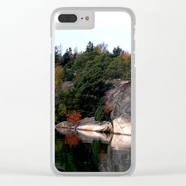 Fall Colors Accentuating Cliff Reflections Clear iPhone Case