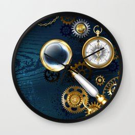 Steampunk blue background with magnifier Wall Clock