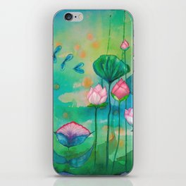 Green water lilies and pink lotus flowers iPhone Skin