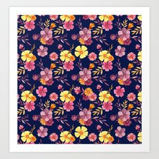 Midnight // Pink and Yellow Floral Pattern Art Print