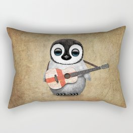 Baby Penguin Playing English Flag Guitar Rectangular Pillow