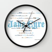 jane eyre Wall Clocks featuring Jane Eyre Quote by Lisa Naselli