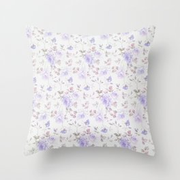 Lavender gray elegant vintage roses floral Throw Pillow