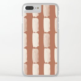 Sherwin Williams Creamy Off White SW7012 Grid Brushstrokes on Cavern Clay SW 7701 Clear iPhone Case