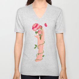 Rose flower with thorns in hand, pain and pleasure Unisex V-Neck