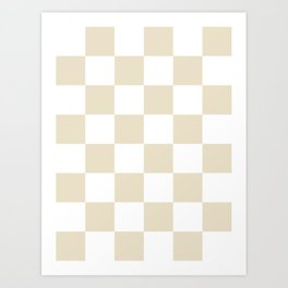 Large Checkered - White and Pearl Brown Art Print
