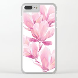 Crystal Pink orchid, polygon flowers, beautiful floral background Clear iPhone Case