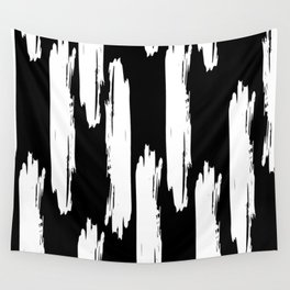Black And White Retro Bold Paint Lines Pattern Wall Tapestry