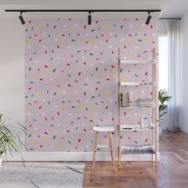 Sweet glazed, with colorful sprinkles on pink melting icing Wall Mural