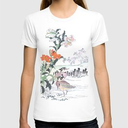 Kono Bairei - Birds In Swamp Water And Lily Flowers - Vintage Japanese Woodblock Print Art  T-shirt