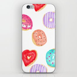 Modern cool hand painted watercolor donuts pattern iPhone Skin