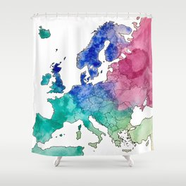 Colorful Watercolor Map of Europe Shower Curtain