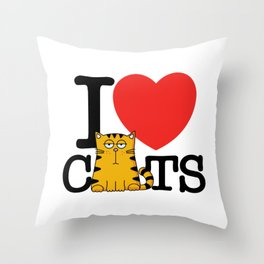I Love (Heart) Cats Throw Pillow