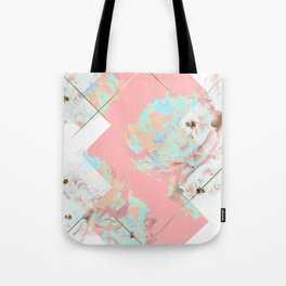 Abstract Blush Geometric Peonies Flowers Design Tote Bag