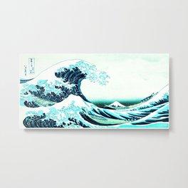 the great wave : aqua teal Metal Print