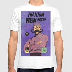 phantom moustache Mens Fitted Tee MEDIUM White