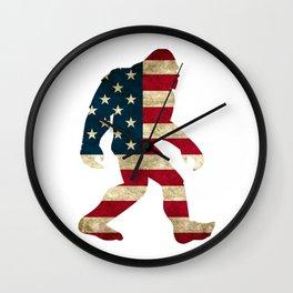 Bigfoot american flag Wall Clock