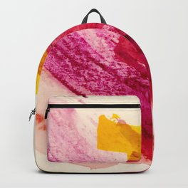 Pink Lemonade: a minimal, colorful abstract mixed media with bold strokes of pinks, and yellow Backpack