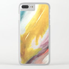 Ambition: a colorful abstract piece in bold yellow, blue, pink, red, and gold Clear iPhone Case
